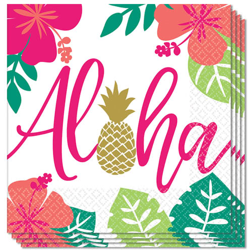 Aloha Summer Luncheon Napkins 33cm 2Ply - Pack of 16 Bundle Product Image
