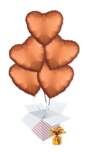 Amber Orange Satin Luxe Heart Shape Foil Helium Balloon Bouquet - 5 Inflated Balloons In A Box Product Image