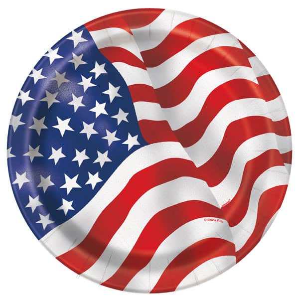American Flag Round Paper Plates 22cm - Pack of 8