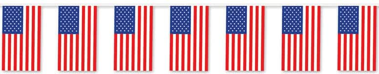 American Flag Outdoor Pennant Banner - 60 Ft / 18.2m