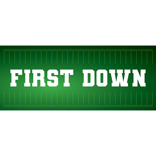 First Down American Football PVC Party Sign Decoration 60cm x 25cm