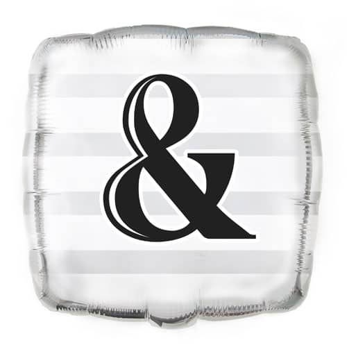 Ampersand Silver Square Foil Balloon - 45cm Product Image