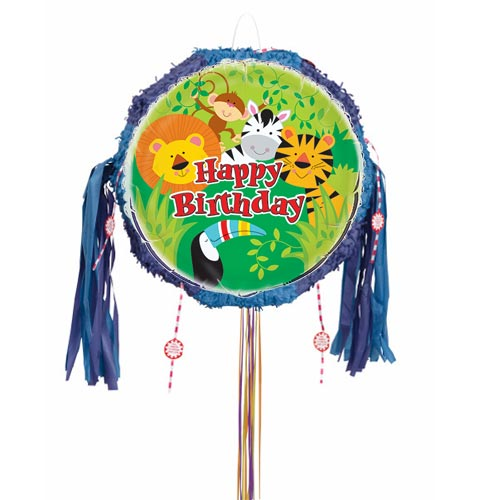 Animal Jungle Happy Birthday Pull String Pinata