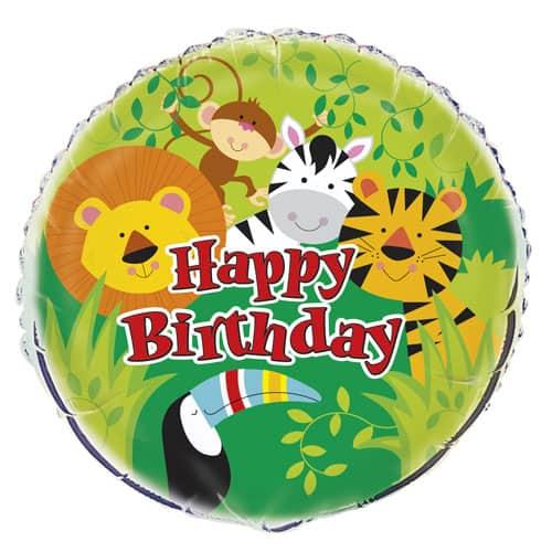 Animal Jungle Happy Birthday Round Foil Balloon - 45cm