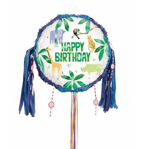 Animal Safari Happy Birthday Pull String Pinata
