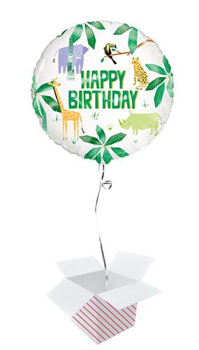 Animal Safari Happy Birthday Round Foil Helium Balloon - Inflated Balloon in a Box