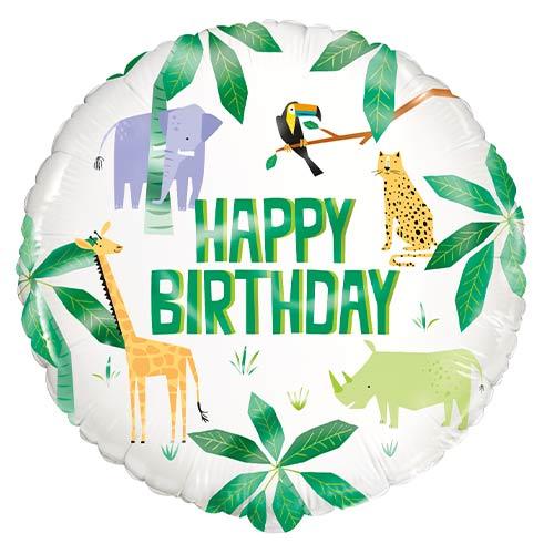 Animal Safari Happy Birthday Round Foil Helium Balloon 46cm / 18 in