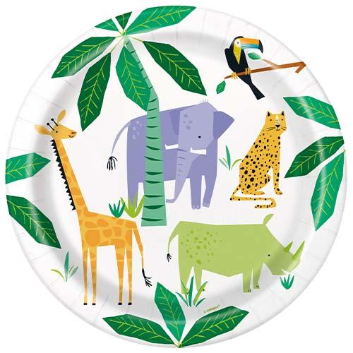 Animal Safari Round Paper Plates 22cm - Pack of 8