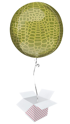 Animalz Alligator Print Orbz Foil Helium Balloon - Inflated Balloon in a Box Product Image