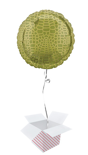 Animalz Alligator Print Round Foil Helium Balloon - Inflated Balloon in a Box Product Image