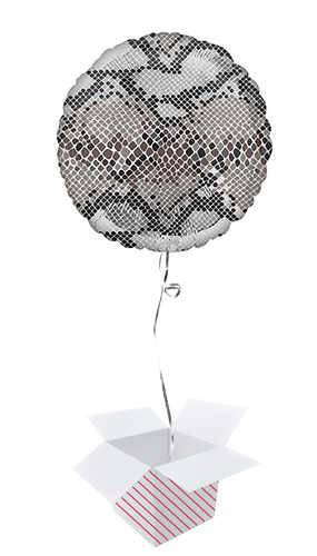 Animalz Snake Skin Print Round Foil Helium Balloon - Inflated Balloon in a Box Product Image