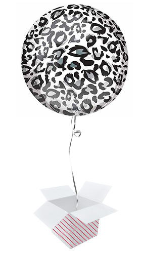 Animalz Snow Leopard Print Orbz Foil Helium Balloon - Inflated Balloon in a Box Product Image