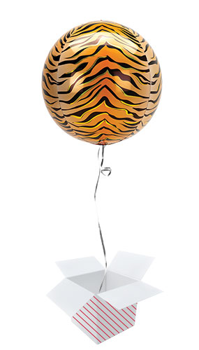 Animalz Tiger Print Orbz Foil Helium Balloon - Inflated Balloon in a Box