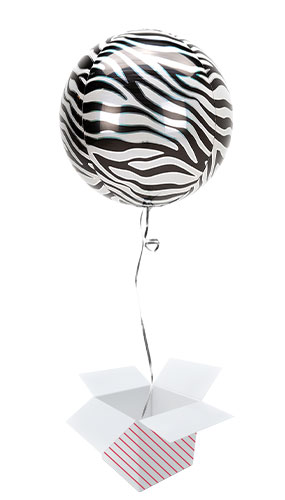 Animalz Zebra Print Orbz Foil Helium Balloon - Inflated Balloon in a Box Product Image