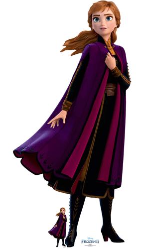 Anna Purple Velvet Coat Disney Frozen 2 Lifesize Cardboard Cutout 168cm