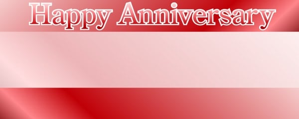 Anniversary Plain Red Design Large Personalised Banner - 10ft x 4ft