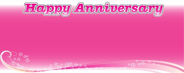 Happy Anniversary Pink Floating Hearts Design Large Personalised Banner - 10ft x 4ft