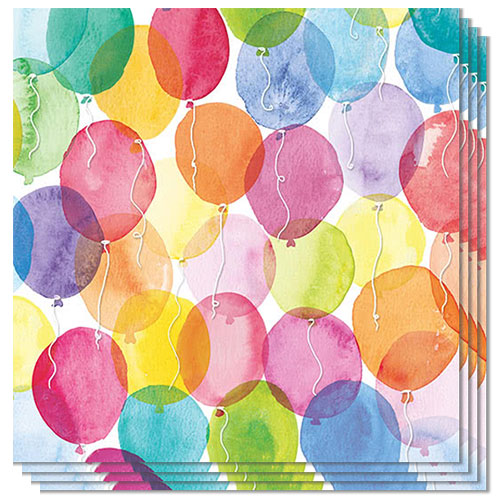 Aquarell Balloons Luncheon Napkins 3Ply 33cm - Pack of 50 Product Image