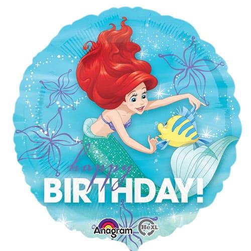 Ariel Happy Birthday Round Foil Balloon 43cm