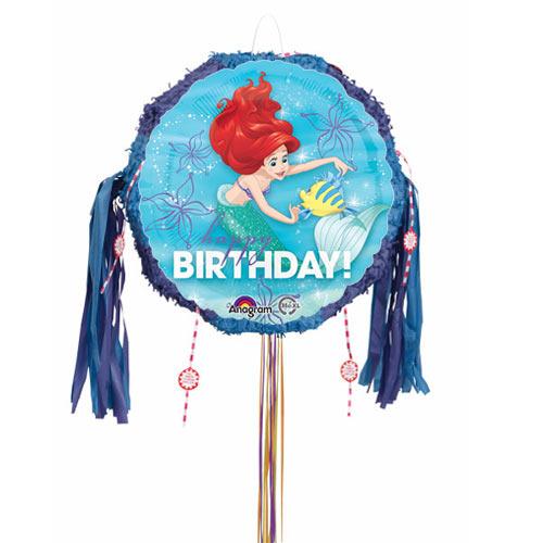 Ariel Happy Birthday Pull String Pinata Product Image