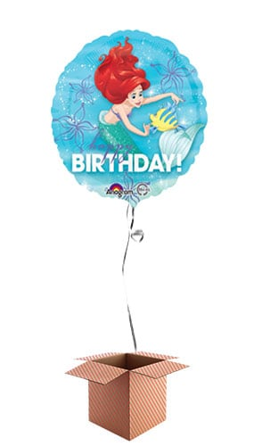 Ariel Happy Birthday Round Foil Balloon - Inflated Balloon in a Box