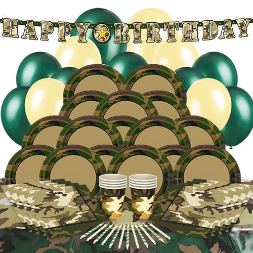 Army Camouflage Theme 16 Person Delux Party Pack