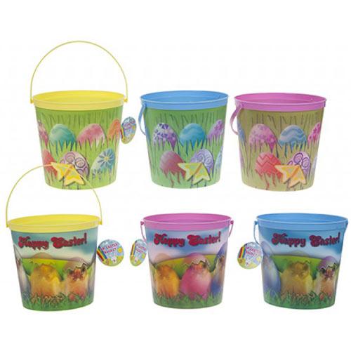 Assorted 3D Lenticular Happy Easter Plastic Bucket 18cm
