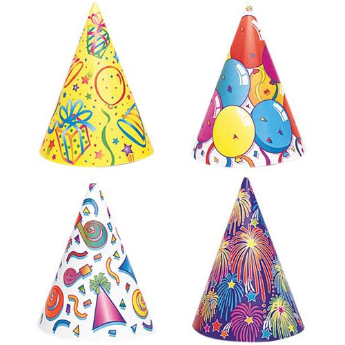 Assorted Birthday Party Cone Hats - Pack of 8