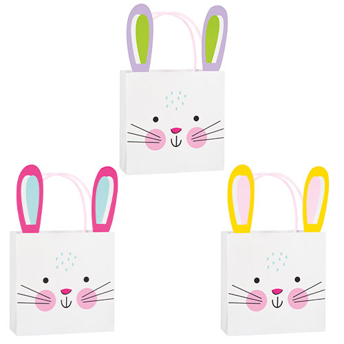 Assorted Bunny Easter Paper Treat Bags - Pack of 3