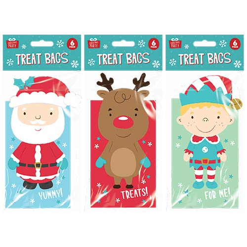 Assorted Christmas 3D Characters Treat Bags - Pack of 6
