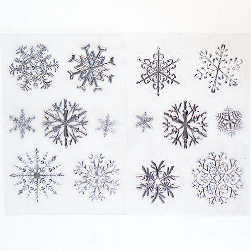 Assorted Christmas 3D Foiled Snowflake Window Stickers Sheet Decoration