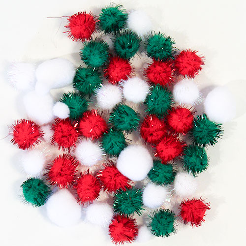Assorted Christmas Craft Pom Poms - Pack of 50 Product Image