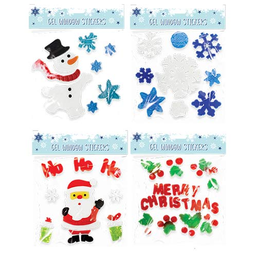 Assorted Christmas Gel Window Stickers Sheet Product Image