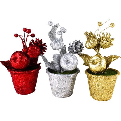 Assorted Christmas Glitter Flowers in Pots 15cm Product Image