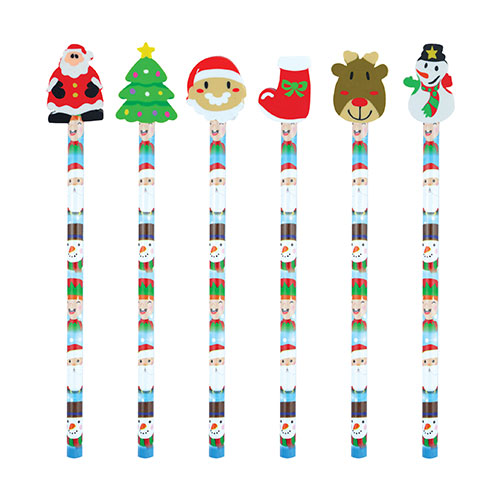 Assorted Christmas Pencil With Eraser 20cm