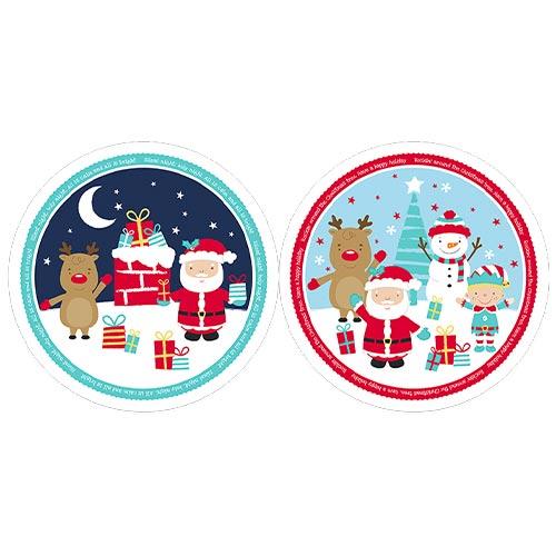 Assorted Christmas Printed Plastic Plate 28cm