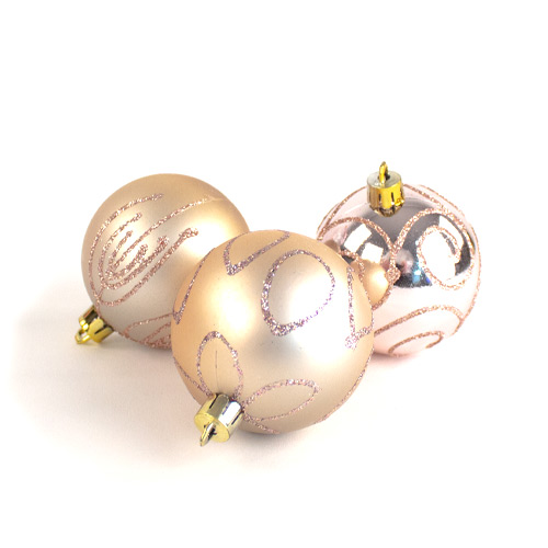 Assorted Christmas Rose Gold Luxury Baubles 6cm - Pack of 9 Product Image