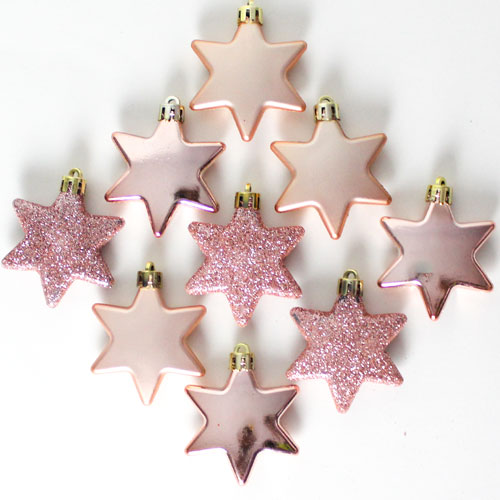Assorted Christmas Rose Gold Stars Baubles Hanging Decorations - Pack of 9 Product Image
