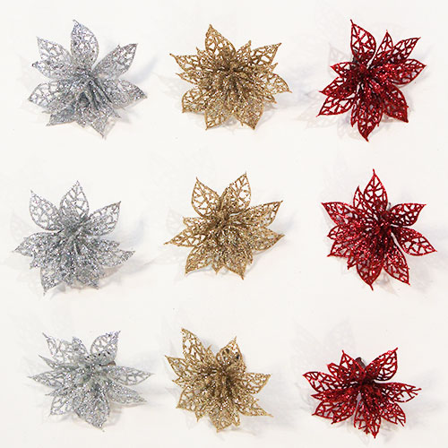 Assorted Glitter Clip On Plastic Poinsettia Christmas Decorations - Pack of 3 Product Image