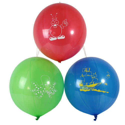Assorted Colours Printed Latex Punch Balloons 45cm / 18Inch - Pack of 3
