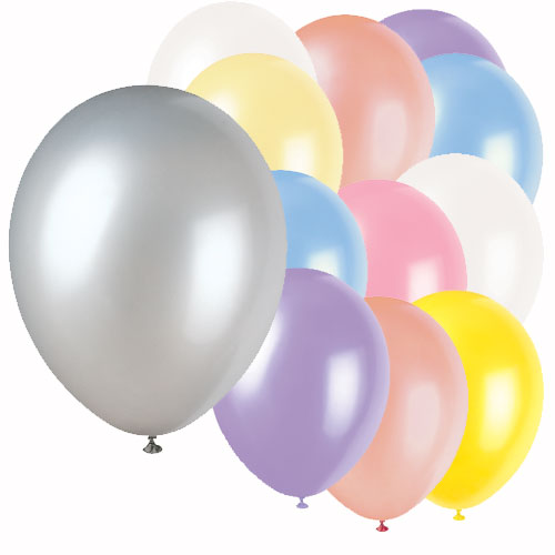 Assorted Colour Plain Biodegradable Latex Balloons - 12 Inches / 30cm - Pack of 50 Product Image