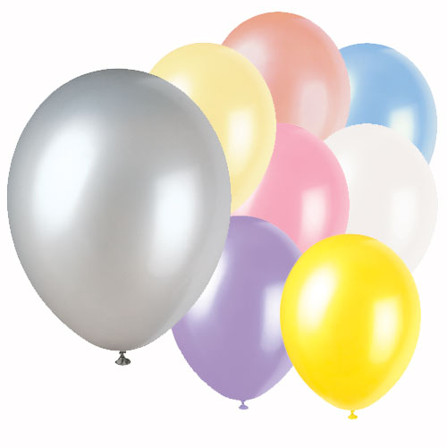 Assorted Colour Plain Biodegradable Latex Balloons - 12 Inches / 30cm - Pack of 8 Product Image