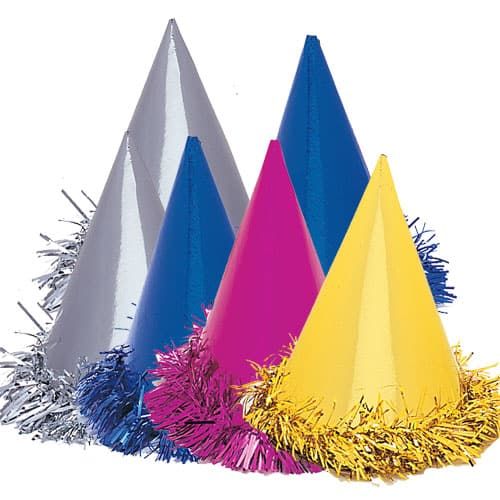 Assorted Coloured Hats with Fringe - Pack of 6