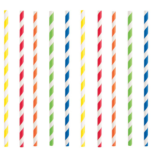 Assorted Colours Striped Eco-Friendly Paper Straws - Pack of 40