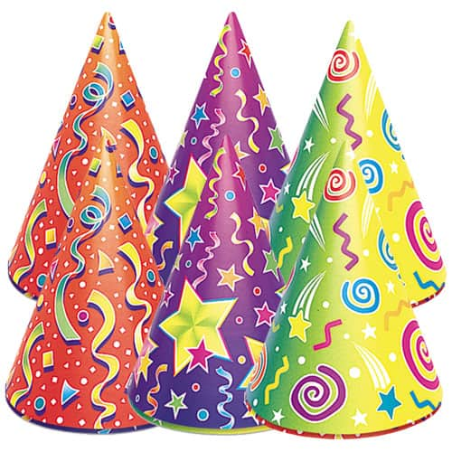 Assorted Designs Party Hats - Pack of 6