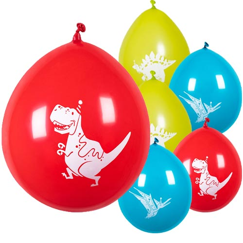 Assorted Dinosaur Fun Party Air Fill Latex Balloons 25cm / 10 in - Pack of 6 Product Image