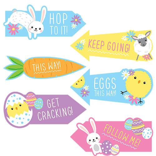Assorted Easter Egg Hunt Cardboard Arrow Signs - Pack of 15 Product Image