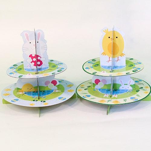 Assorted Easter Springtime Cupcake or Egg 2 Tier Stand