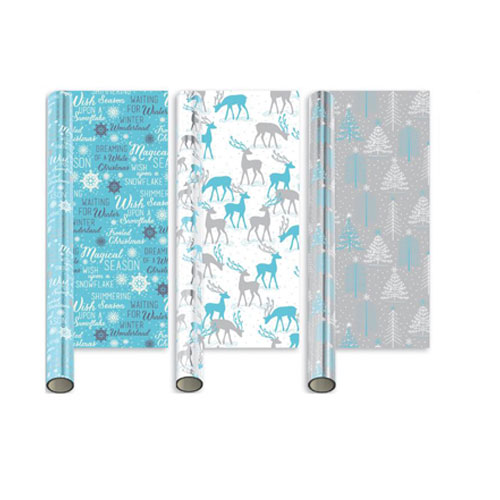 Metallic Assorted Elegant Ice Christmas Gift Wrapping Paper 2m - Pack of 3