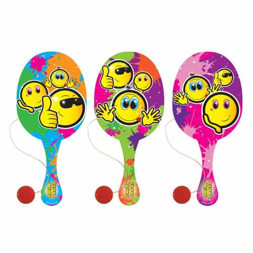 Assorted Emoji Wooden Paddle Bat With Ball 22cm Product Image